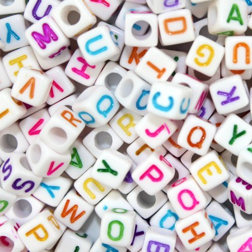 Goodlucky365 500pcs Beads Letter Beads Mixed White Acrylic Plastic Beads