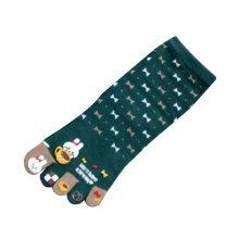 Cute Cartoon Tube Toe Scoks Green Warmming Home Socks