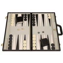 """Deluxe Backgammon Set - 18"""" Classic Board, Black"""