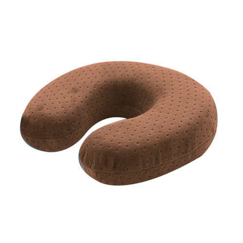 Velvet Bamboo Charcoal Small U Mocha Color Multi-functional Neck Pillow