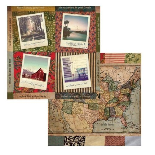 Canvas 7g19555 12 x 12 in. Go & See American Vintage 2 Sided Cardstock Paper