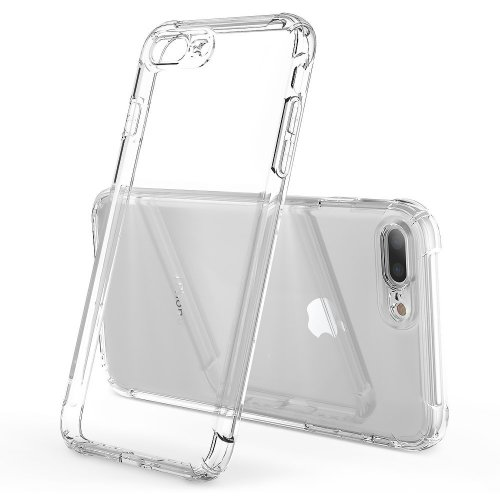 56385ff18f2 iPhone 7 Plus Case iPhone 8 Plus Clear Shockproof-Ultra Light Soft TPU  Silicon Case Cover Skin HZRICH[With Free Full Glass Screen  Protector][Lens... on ...