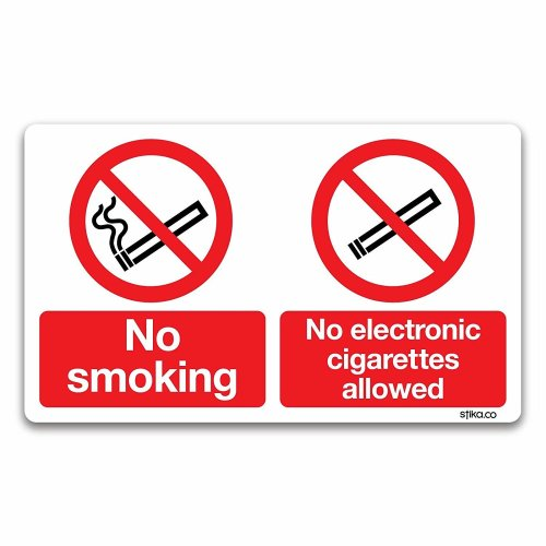 No Smoking/No Electronic Cigarettes Sign - Smoking Area Prohibition Safety Signs (White Vinyl, 150 x 250mm)