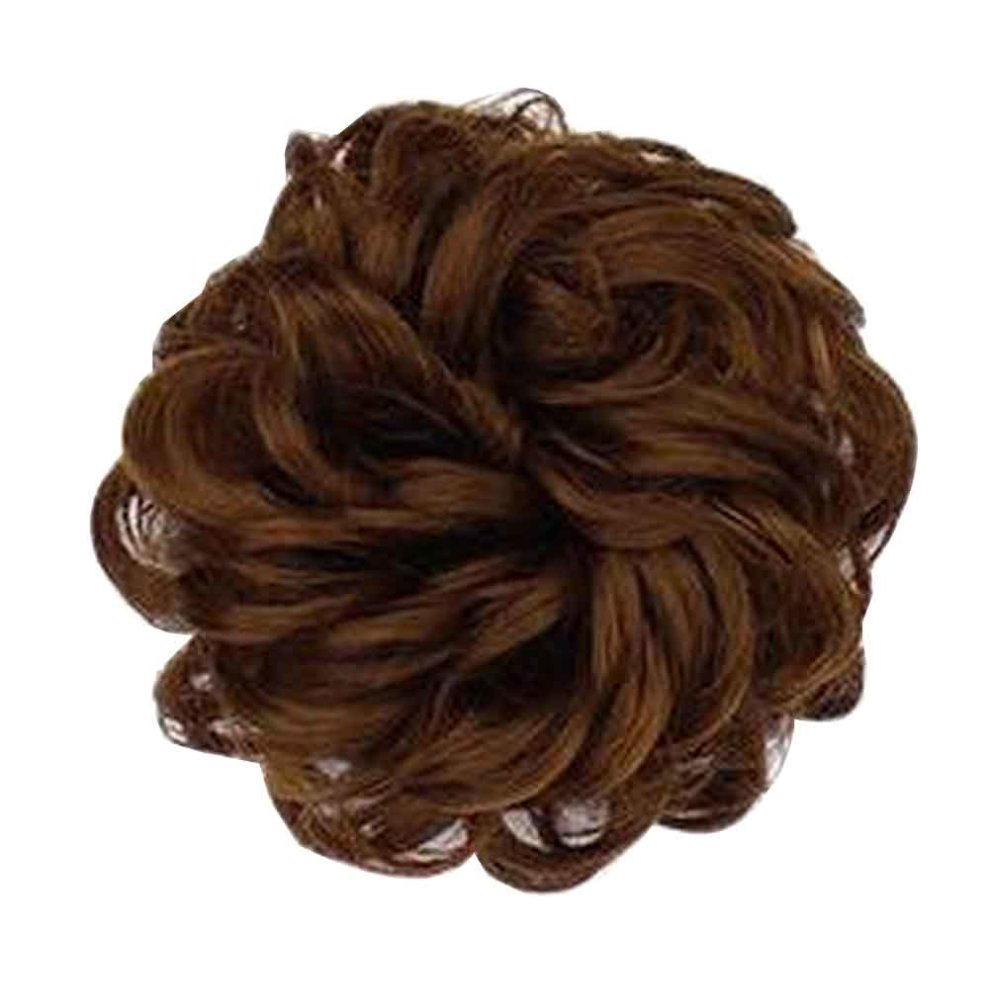 Fake Hair Bun With Elastic Band Easy To Wear Light Brown On