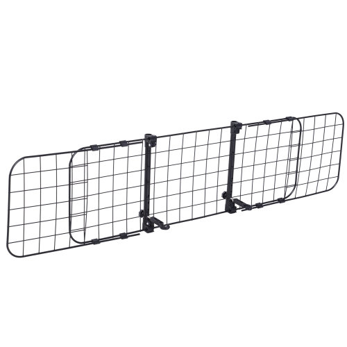 PawHut Heavy Duty Pet Dog Car Barrier Adjustable Ventilated Mesh Wire Guard Auto Vehicle Fence Protector SUVs Black
