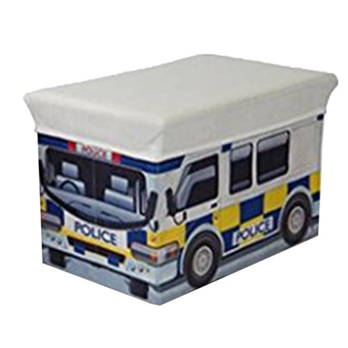 Children's MDF Storage Box Chest with Padded Seat Bedroom Playroom - Police Car