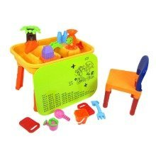deAO Sand and Water Table with Chair and Lid for Toddlers Including Assorted Accessories