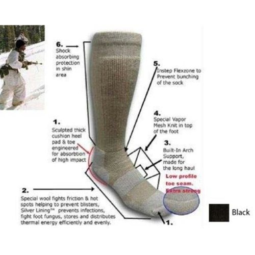 Covert Threads CT-3155-BK 9 - 13 ICE – Extreme Cold Territory Military Boot Sock in Black