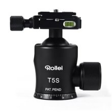 Rollei T-5S - Panoramic Tripod Ball Head 360° with extremely high loading capacity of 25 kg, incl. Rollei Quick Release Plate QAL-60 - Black