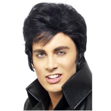 Smiffys Male Elvis Wig - Black -  wig elvis fancy dress black mens presley licensed accessory 50s quiff official smiffys costume
