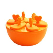 """Creative Top Quality Ice Cube Molds No Spill Round DIY Tray 5.5"""" Orange"""