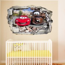 Cars in Wall Crack Kids Bedroom Decal Art Sticker