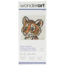 "Caron Wonderart Latch Hook Kit 12""X12""-Tiger Cub"