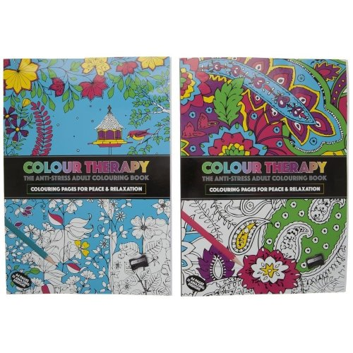 2ast 64pg A4 Size Col Therapy Colouring Book .36cdu - Adult Stress Anti New -  colouring adult therapy book stress anti new relaxation books
