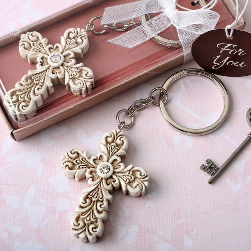 Baroque design Vintage cross themed key chain
