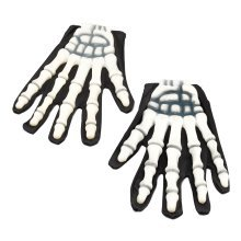 Skeleton Gloves With Rubber Fingers -  gloves fancy dress rubber skeleton fingers accessory halloween skeletonrubber FANCY DRESS WHITE BONE RUBBER
