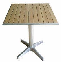 Plick Bistro Garden Patio Square Table - Ash Top and Cast Iron Base