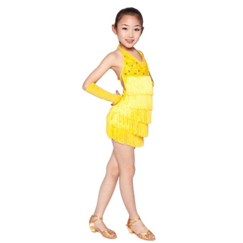 Beautiful Tassel Latin Dance Dress Dance Costumes YELLOW (105-115CM Height)