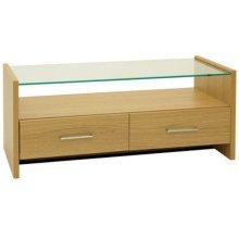 SALINA - Modern Glass Top TV Stand / Entertainment Unit - Oak