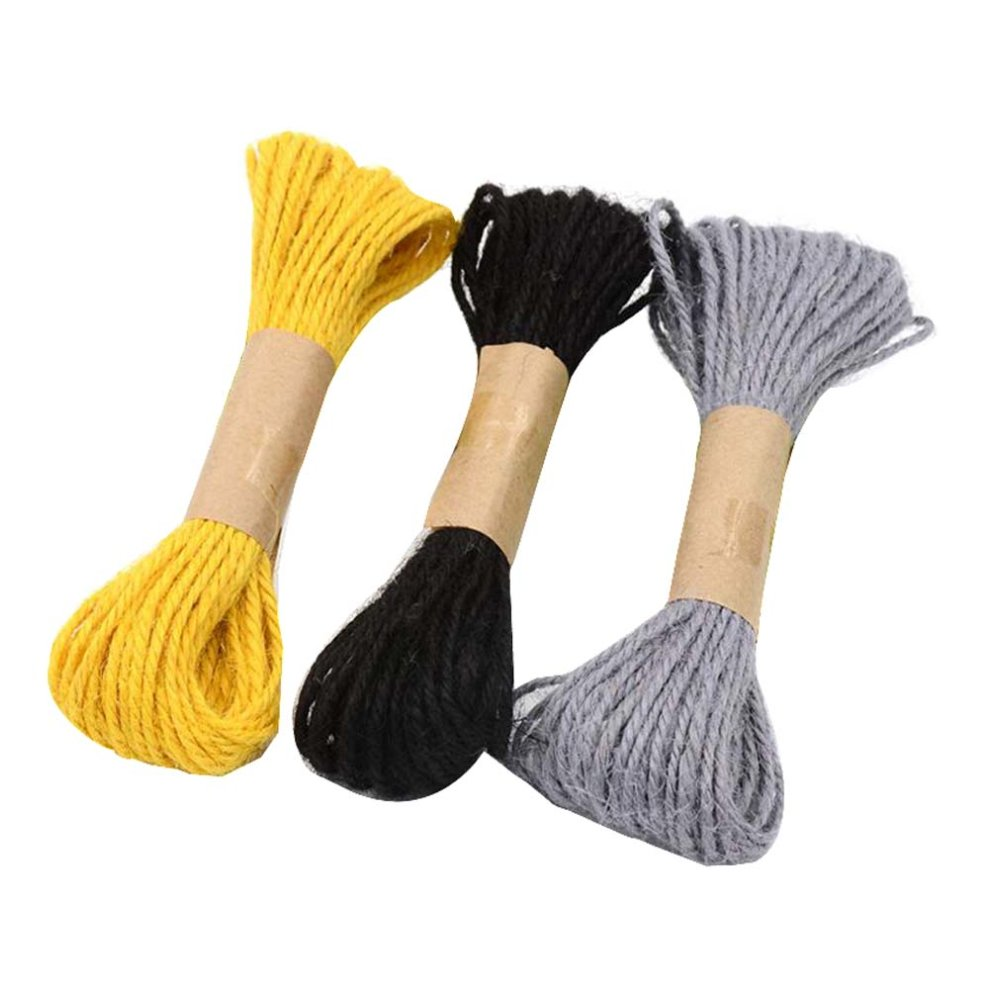 Set of 3 Colored Handmade Natural Jute Rope Durable Soft Hand Woven Rope,10  M