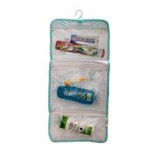 Blue & White Travel Wash Bag folding organizer hanging toiletry wash bag