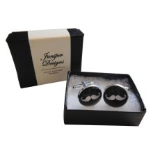 Handcrafted Moustache Cuff links - Fun Valentine's Day, Christmas, thank you or birthday gift for a Gentleman