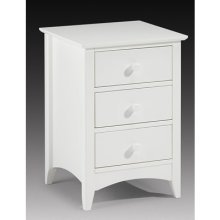 Treck White Stone Bedside Chest 3 Drawer - Fully Assembled Option