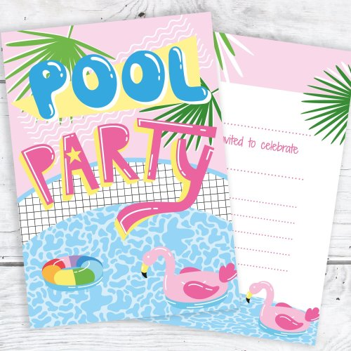 Pool Party Invites - Pink Tropical Style - Ready to Write with Envelopes (Pack 10)