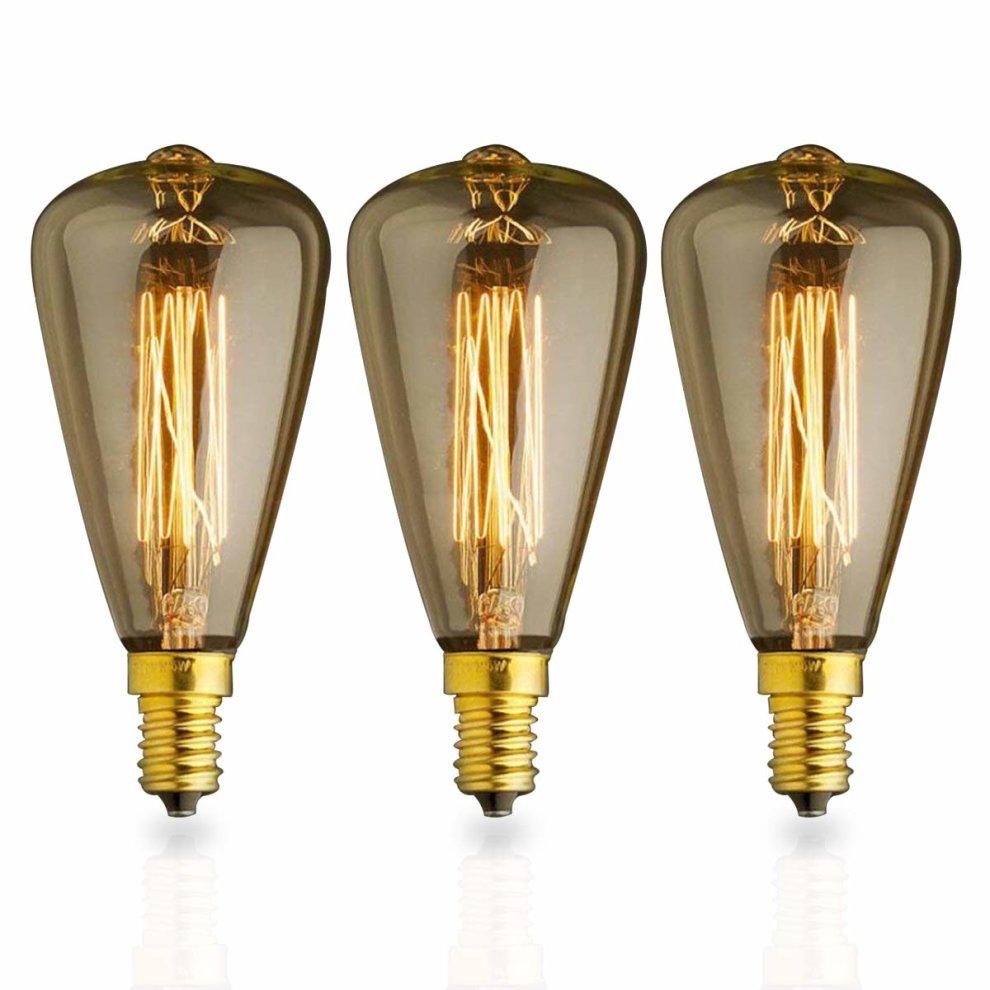 Kjlars 3x Vintage E14 25w St48 Yellow Light Bulb Edison
