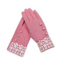 Ladies Warm Winter Gloves Driving Gloves Flowers Pink