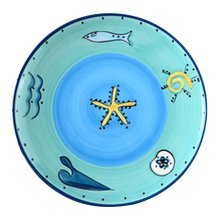 2 Pcs Cartoon Ocean Ceramic Dish Hand-painted Dessert Plate