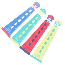 Set of 5 Well Design Colorful Lighthouse Shape Student Rulers, Random Color