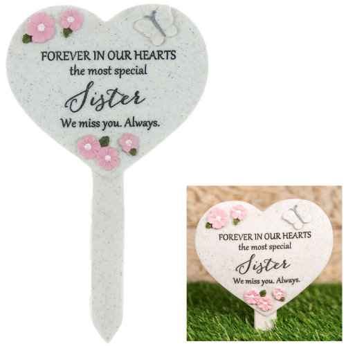Thoughts Of You 'Heart' Graveside Stake - Sister