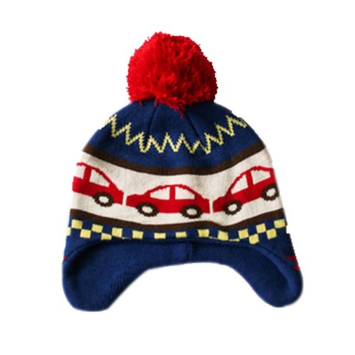 Warm Hat Knitted Hat Plus Velvet Ear Protection Hat Cars Pattern