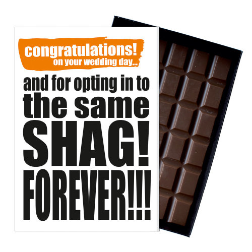Funny Wedding Day Gift A Rude Present  Naughty Card for Couple 85g Chocolate