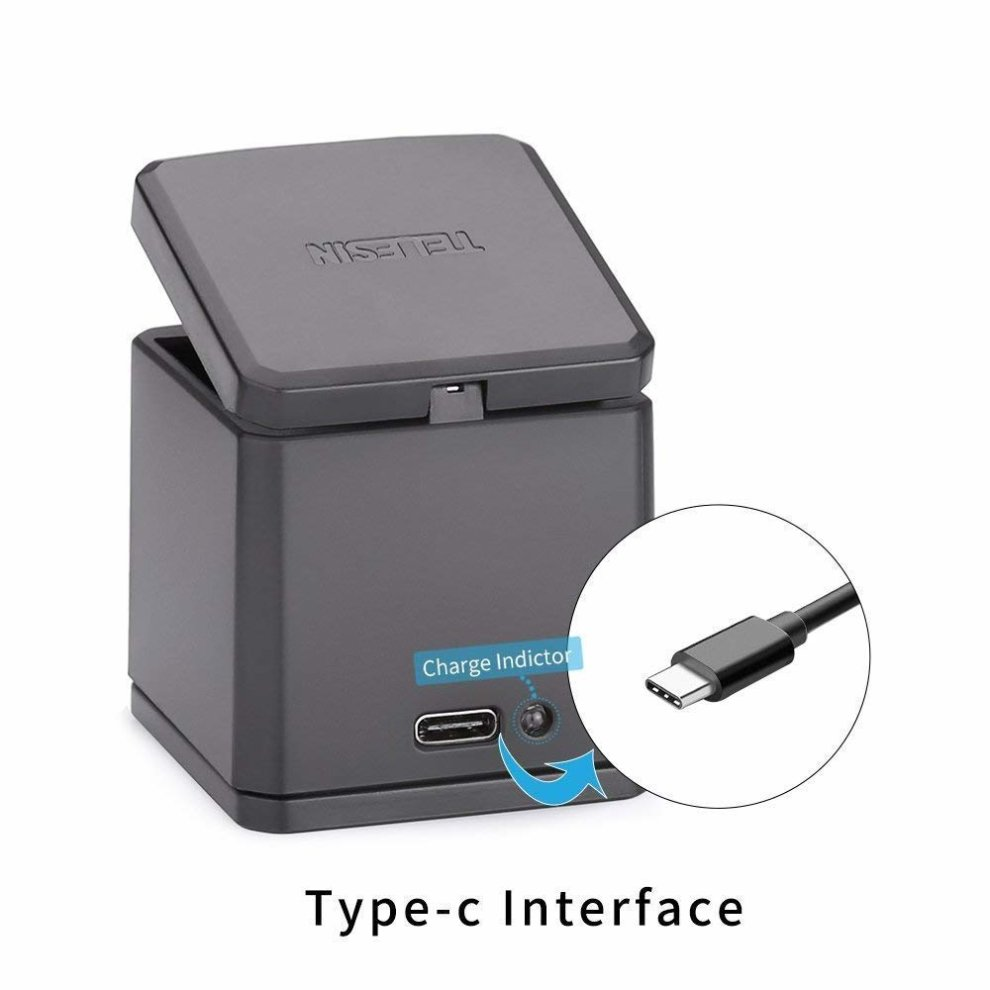 best website 87fd9 18b2f AFAITH Triple Charger Charging Dock Storage Case for Gopro, 3 Channels  Multi-function Type-C Charging Box Battery Storage Charger Organizer for...