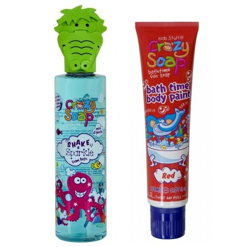 Kids Stuff Crazy Soap Octopus Shake & Sparkle Foam plus Red Bath Time Body Paint