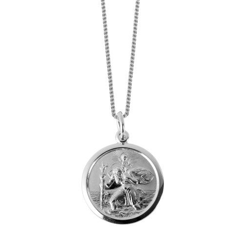 Popular Sterling Silver St Christopher medal  Hallmark 925  Perfect to  celebrate a birth, christening or confirmation  With presentation case