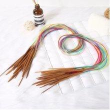 Plastic Tube Circular Carbonized Bamboo Knitting Needles