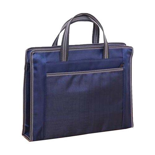 Portable Document Bag Zipper Bag Multi-layered Data Bag Briefcase, Blue-1