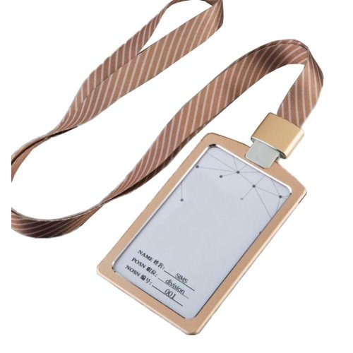 Aluminum Alloy Vertical Style ID Card Badge Holder with Neck Lanyard Strap 3PCS, 36