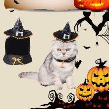 Pet Witch Hat Adjustable Halloween Wizard Hat