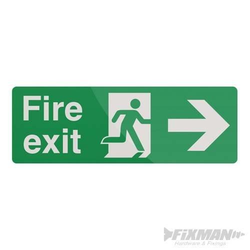 400mm x 150mm Fire Exit Arrow Sign - Right Fixman 400 Pl 366619 -  fire exit arrow sign 150mm right fixman 400 pl 366619