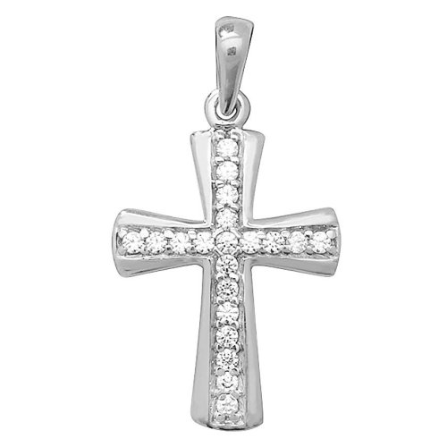 9ct White Gold Cubic Zirconia Cross Pendant On A Belcher Necklace