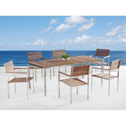 Modern Outdoor Dining Set for 6 - Teak & Stainless Steel - VIAREGGIO