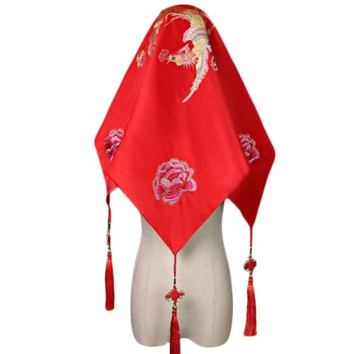 Traditional Chinese Wedding Bridal Veil Red Head Scarf A13