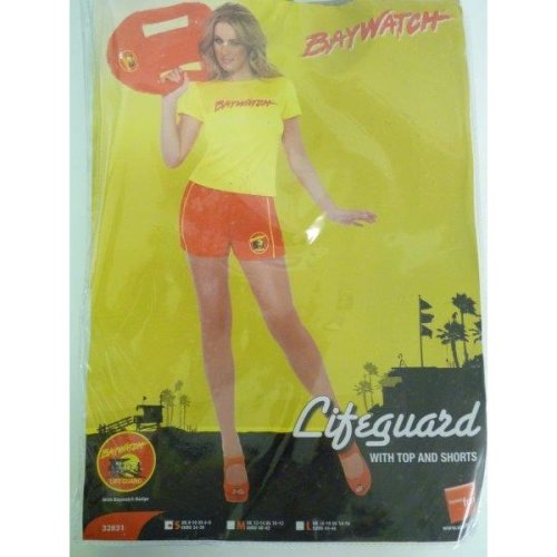 Small Ladies Casual Baywatch Costume -  baywatch costume fancy dress ladies beach lifeguard womens hen party 90s licensed