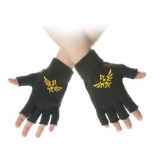 Nintendo Legend Of Zelda Yellow Royal Crest Fingerless Gloves - Green
