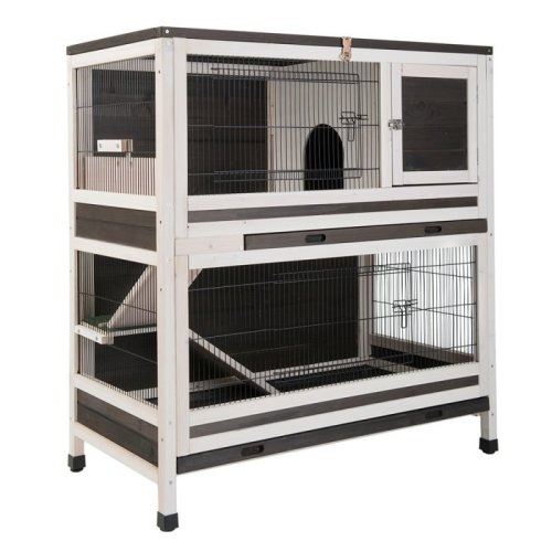 Two Storey Wooden Cage with Mesh Roof Rabbits Guinea Pigs