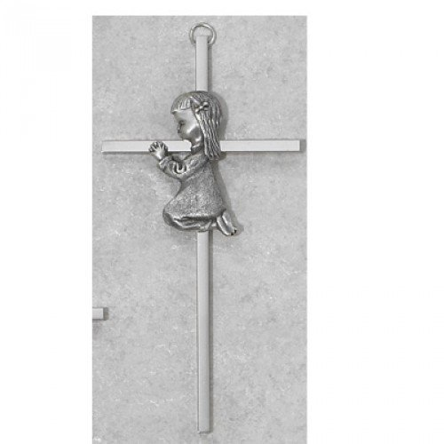 6 SILVER GIRL WALL CROSS BABY INFANT CHRISTENING BAPTISM SHOWER by KeegansCatholicTreasures by KeegansCatholicTreasures